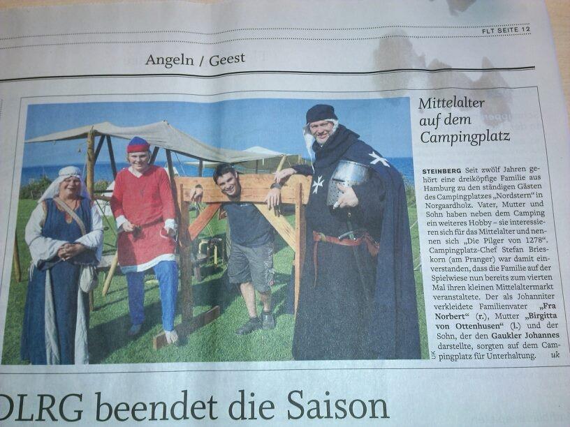 Der '4. kleiner Mittelaltermarkt in Norgaardholz' in der 'Flensburger Tageblatt' vom 25. August 2015