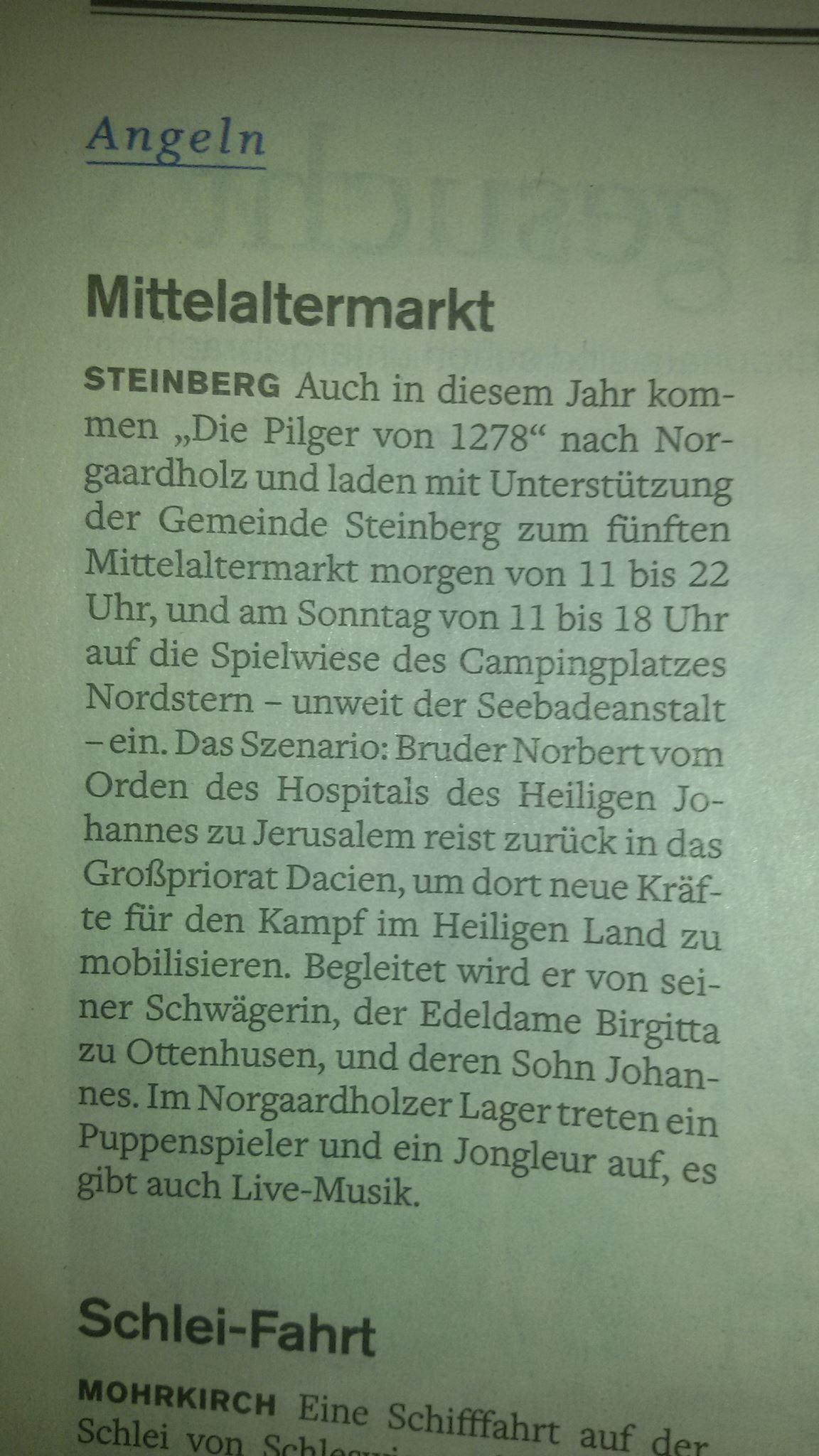 Der '5. kleiner Mittelaltermarkt in Norgaardholz' in der 'Flensburger Tageblatt' vom 12. August 2016