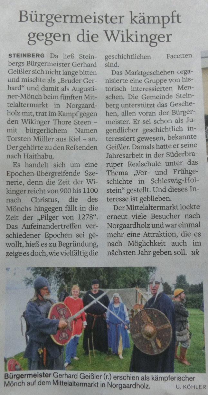 Der '5. kleiner Mittelaltermarkt in Norgaardholz' in der 'Flensburger Tageblatt' vom 16. August 2016