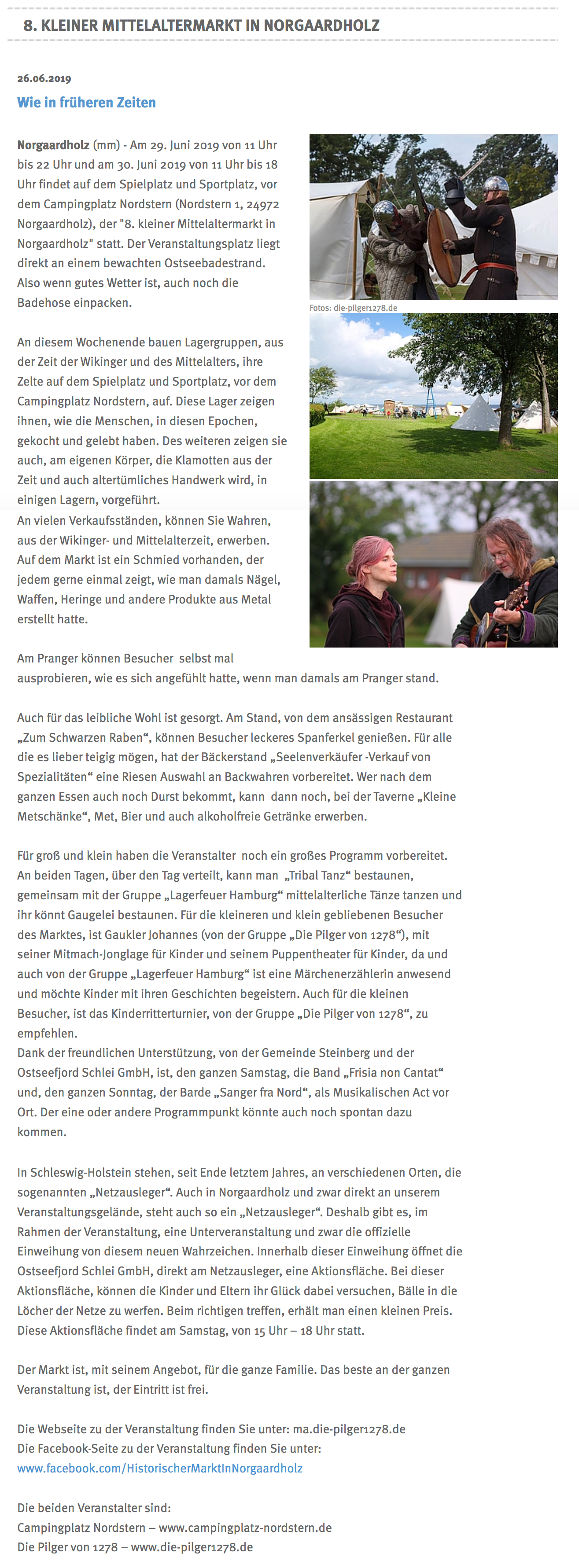 Der '8. kleiner Mittelaltermarkt in Norgaardholz' in der 'Flensburger Tageblatt' vom 26. Juni 2019