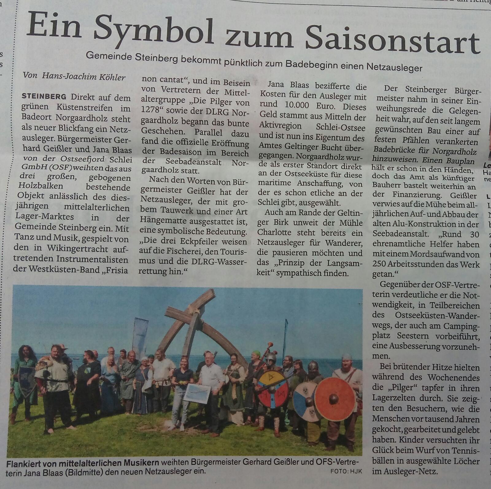 Der '8. kleiner Mittelaltermarkt in Norgaardholz' in der 'Flensburger Tageblatt' vom 01. Juli 2019